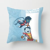 nightcrawler Throw Pillows featuring X-men classic duo by Alex Santaló