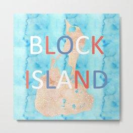 Block Island Watercolor Map Art Metal Print