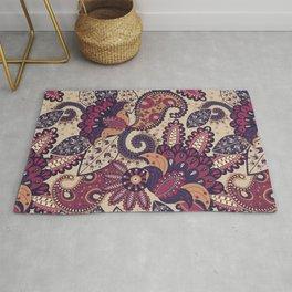 Maroon Boho Paisley & Floral Pattern Rug