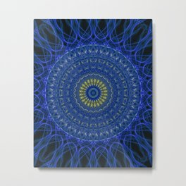 Mandala in dark blue tones with yellow flower Metal Print