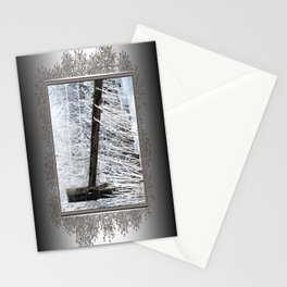 Hoar Frost on the Fence Stationery Cards
