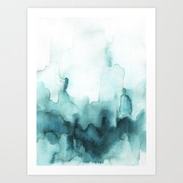 Soft teal abstract watercolor Art Print
