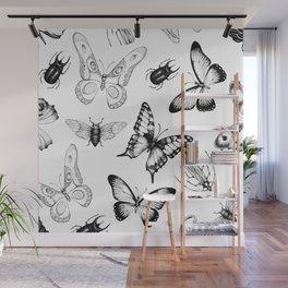 minimal black white butterflies Wall Mural