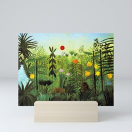 """Henri Rousseau """"Exotic Landscape with Lion and Lioness in Africa"""", 1903-1910 Mini Art Print"""
