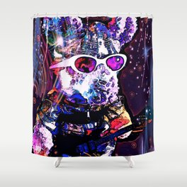 """""""Pinky the Pig's Guitar Solo in Space"""" Shower Curtain"""