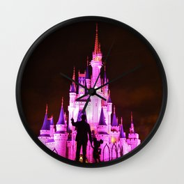 Cinderella's Castle featuring the statues of Walt & Mickey at the end of main street USA Wall Clock