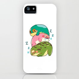 Toad frog Lurch lazy tired sleep gift iPhone Case