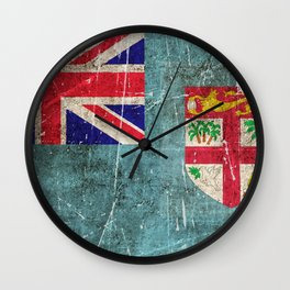 Vintage Aged and Scratched Fiji Flag Wall Clock