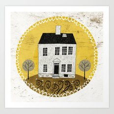 Country House in Cotton Field Art Print
