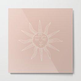 Boho Sun Drawing XXIII Neutral Pink Metal Print