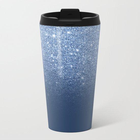 Modern trendy navy peony faux glitter ombre pattern Metal Travel Mug