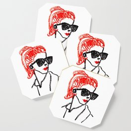 sunglasses and red hair Coaster