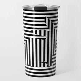 Rabbit on Stripes Travel Mug