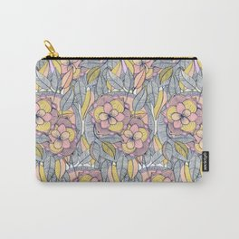 Pink and Peach Linework Floral Pattern Carry-All Pouch