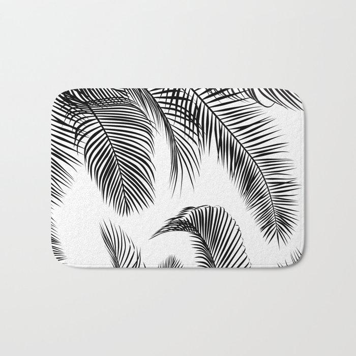 black palm tree leaves pattern bath mat by martaolgaklara society6