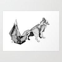 literature Art Prints featuring literature fox 3 by vasodelirium