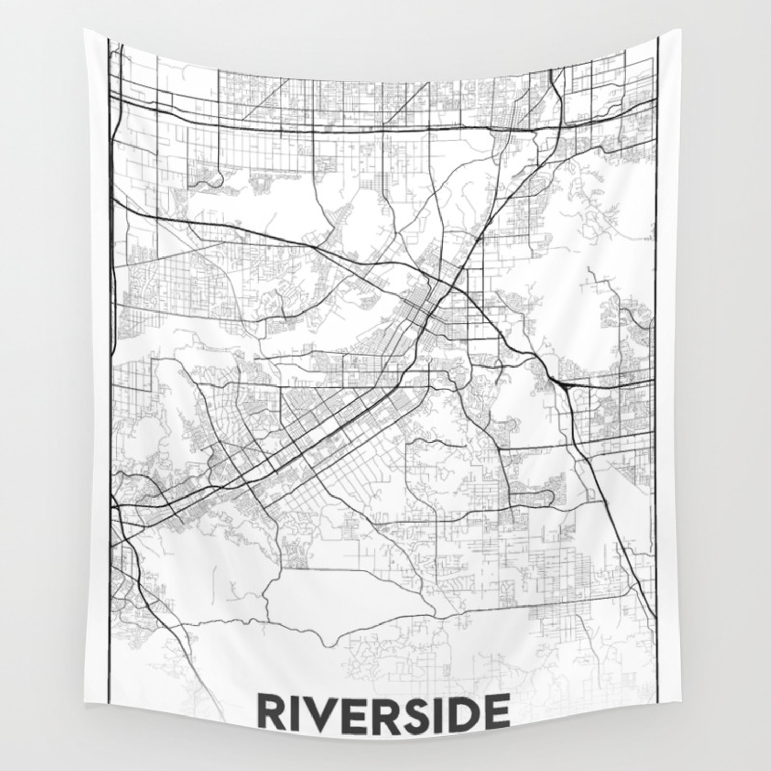 Minimal City Maps - Map Of Riverside, California, United States Wall  Tapestry