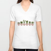 cacti V-neck T-shirts featuring Cacti & Succulents by Vicky Webb