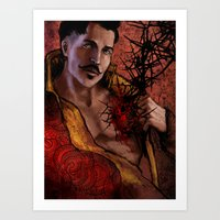 "dragon age inquisition Art Prints featuring Dragon Age Inquisition - Dorian Pavus - Thorn by Barbara ""Yuhime"" Wyrowińska"