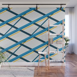 Deco Stripes Blue Wall Mural