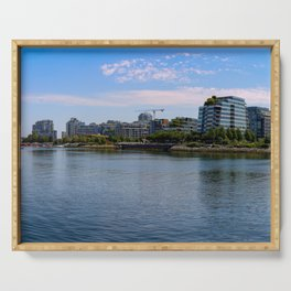 Vancouver skyline in the daytime at waterfront Serving Tray