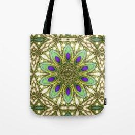 Peacock Healing Light Mandala Tote Bag