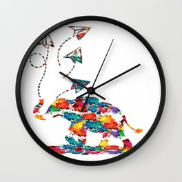 Baby elephant with paper planes Wall Clock