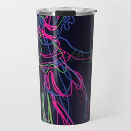 Tribal fusion dance color power. Abstract. Neon glowing  gesture sketch Travel Mug