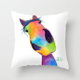 Happy Horse ' HaPPY G & T ' by SHiRLeY MacArTHuR Throw Pillow