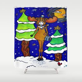"""Henry The Holiday Moose"" Shower Curtain"