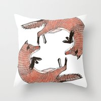 foxes Throw Pillows featuring Foxes by nicolaporter