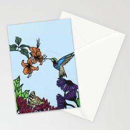 Hummingbird Garden Paper-cut  Stationery Cards