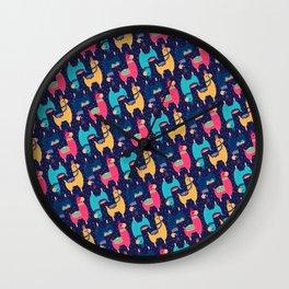 Cute & Colorful Llama / Alpaca Pattern Wall Clock