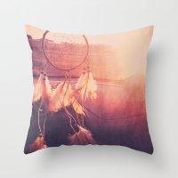 dream catcher Throw Pillows featuring Dream Catcher by Whitney Retter