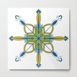 Indian symmetry blue flower folk art motif Metal Print