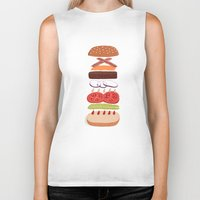 burger Biker Tanks featuring Burger by Andrew Mashanov