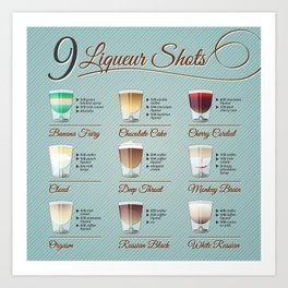 Liqueur shots illustration set with recipt Art Print