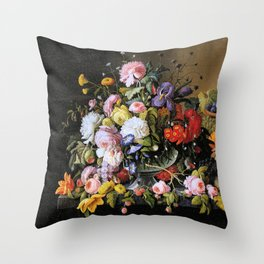 Vintage Varnish- Flowers&Fruit Throw Pillow