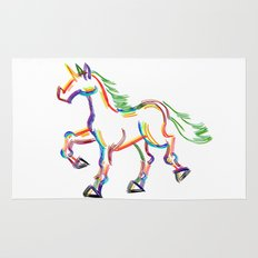 Colored Lines Unicorn Rug