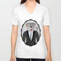 english bulldog V-neck T-shirts featuring Mr. Dandy - English Bulldog by Rozenblyum Couture