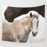 horses Wall Tapestries featuring Horses by Ash W