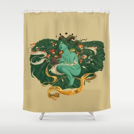 Green Witch with Frogs and Mushrooms Shower Curtain