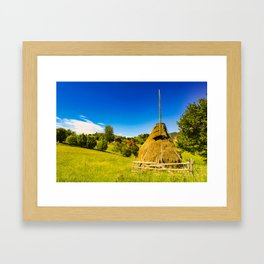 Haystack in the Carpathians of Romania Framed Art Print