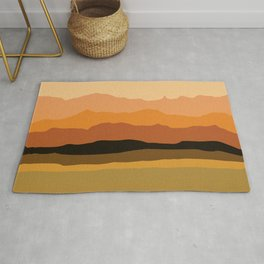 Abstract Mountains and Hills in Orange Rug