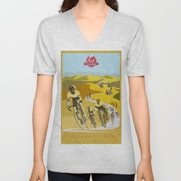 Strade Bianche retro cycling classic art Unisex V-Neck