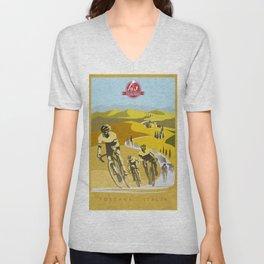 Strade Bianche retro cycling classic art Unisex V-Neck