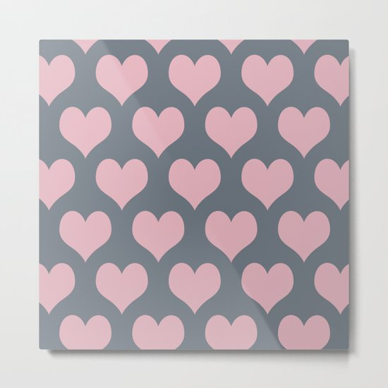 Hearts of Love Coral Pink Gray Metal Print