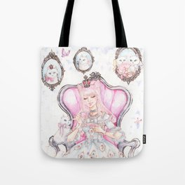 Cat's Tea Party Watercolor Painting Tote Bag