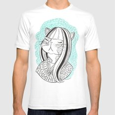 Cat Lady No. 1 White MEDIUM Mens Fitted Tee