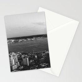 Seattle Summer Sunset from the Needle Panorama in Black and White Stationery Cards